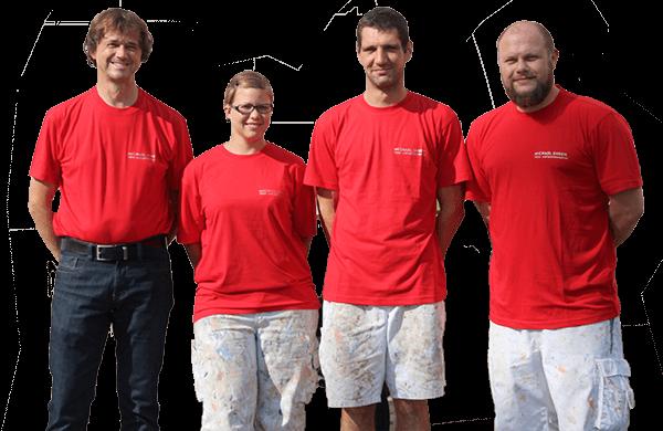 Teambild von Malerbetrieb Ehren, Links Michael Ehren Firmeninhaber