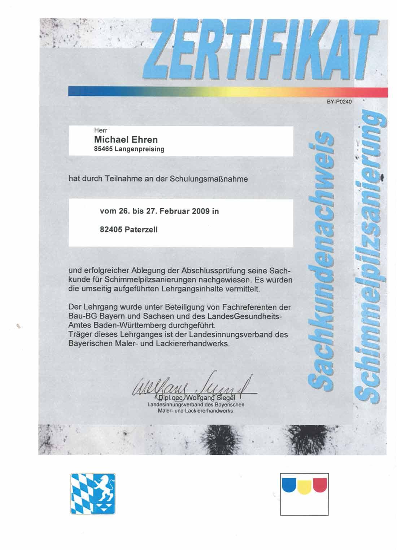 Zertifikat für die Teilnahme an einer Sachkundeprüfunge für Schimmelpilzsanierung